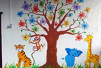 cartoon wall painting imges for school